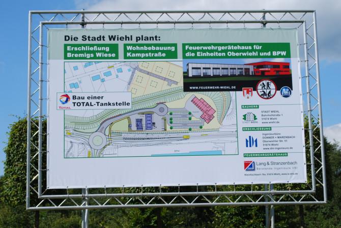 Baustellenschild für Bremigs Wiese in Wiehl